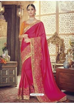 Fuchsia Silk Heavy Embroidered Designer Saree