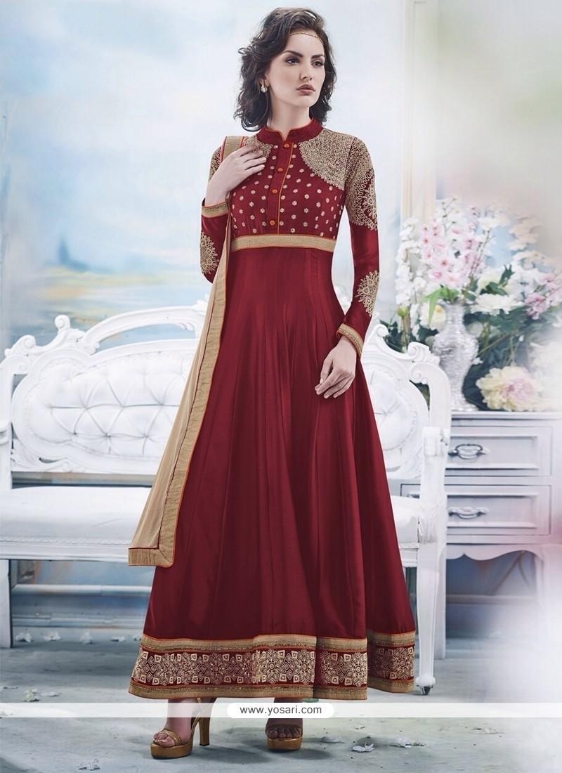 Jaaz Maroon Georgette Anarkali Suit