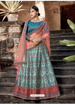 Pretty Sky Blue And Peach Pure Satin Zari Worked Designer Lehenga Choli