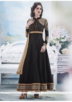Tantalizing Black Georgette Anarkali Suit
