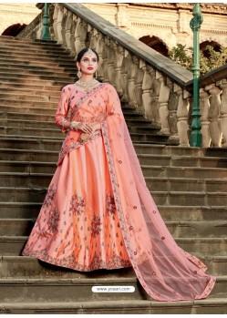 Peach Pure Satin Zari Worked Designer Lehenga Choli