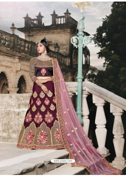 Wine Pure Satin Tafeta Worked Designer Lehenga Choli