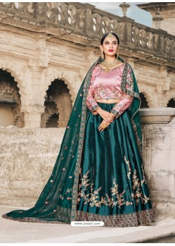 Charming Teal Pure Satin Zari Worked Designer Lehenga Choli