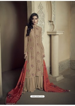 Beige Upada Silk Thread Embroidered Palazzo Suit