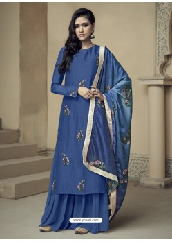 Dark Blue Upada Silk Thread Embroidered Palazzo Suit
