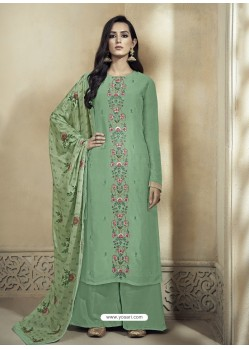 Sea Green Upada Silk Thread Embroidered Palazzo Suit