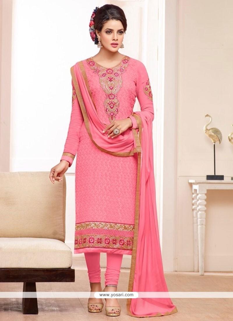 Fab Pink Georgette Straight Salwar Suit