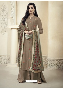 Coffee Upada Silk Thread Embroidered Palazzo Suit
