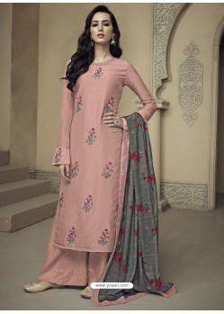 Peach Upada Silk Thread Embroidered Palazzo Suit