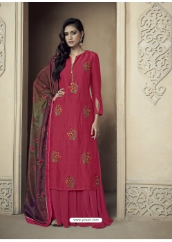 Red Upada Silk Thread Embroidered Palazzo Suit