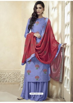 Lavender Upada Silk Thread Embroidered Palazzo Suit