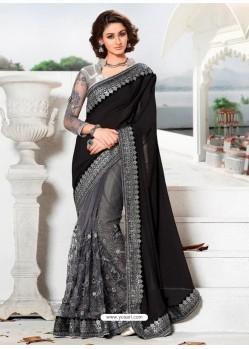 Grey And Black Lycra Embroidered Designer Wedding Saree