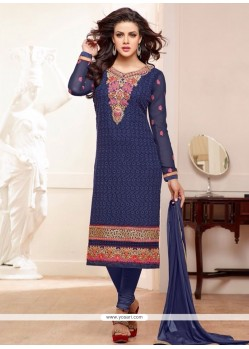 Navy Blue Georgette Churidar Salwar Suit