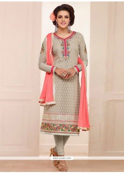 Amazing Beige Georgette Straight Salwar Suit