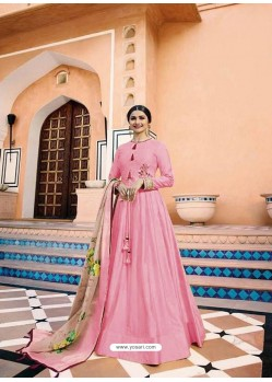 Pink Heavy Sana Silk Embroidered Floor Length Suit