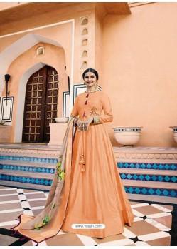 Orange Heavy Sana Silk Embroidered Floor Length Suit
