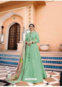 Aqua Mint Heavy Sana Silk Embroidered Floor Length Suit