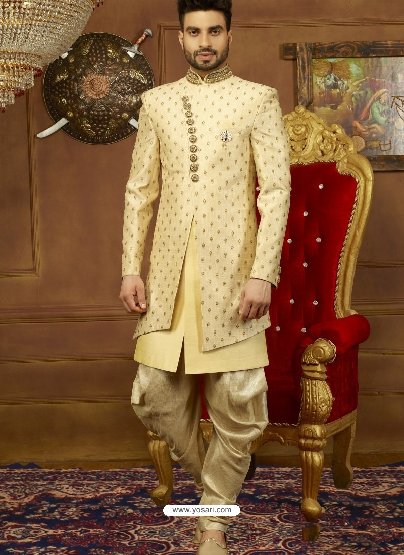 Golden Art Banarasi Silk Indo Western Embroidered Designer Sherwani