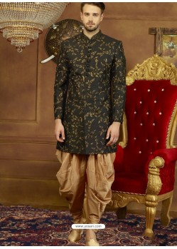 Black Art Banarasi Silk Indo Western Embroidered Designer Sherwani