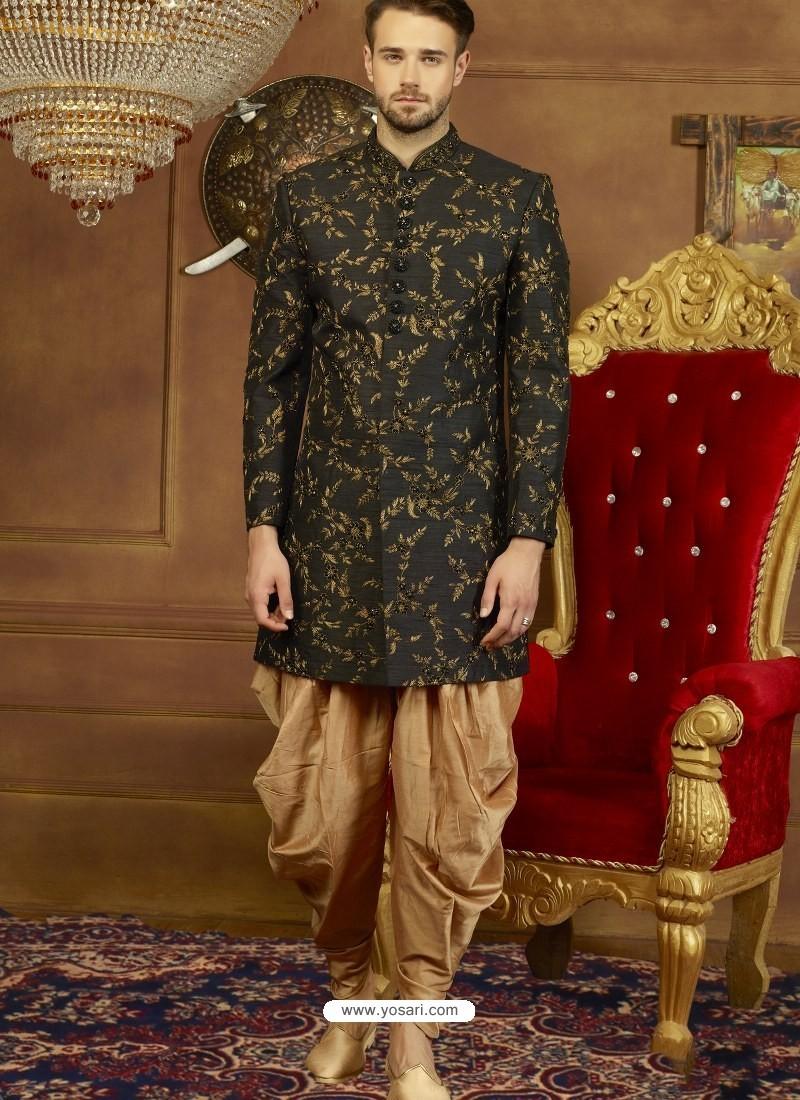 Black Art Banarasi Silk Indo Western Embroidered Designer Sherwani