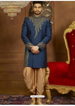 Peacock Blue Art Banarasi Silk Indo Western Embroidered Designer Sherwani