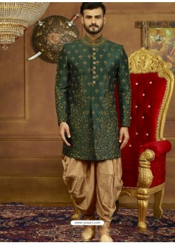 Dark Green Art Banarasi Silk Indo Western Embroidered Designer Sherwani
