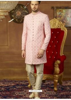 Pink Art Banarasi Silk Indo Western Embroidered Designer Sherwani
