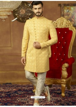 Yellow Art Banarasi Silk Indo Western Embroidered Designer Sherwani