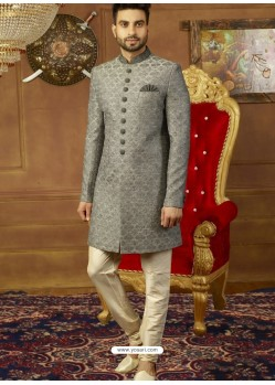 Grey Art Banarasi Silk Indo Western Embroidered Designer Sherwani