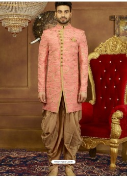 Light Red Art Banarasi Silk Indo Western Embroidered Designer Sherwani