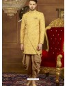 Decent Yellow Art Banarasi Silk Indo Western Embroidered Designer Sherwani