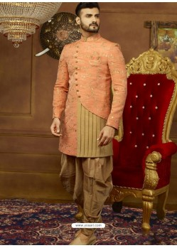 Peach Art Banarasi Silk Indo Western Embroidered Designer Sherwani