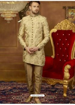 Golden Art Banarasi Silk Indo Western Embroidered Designer Sherwani