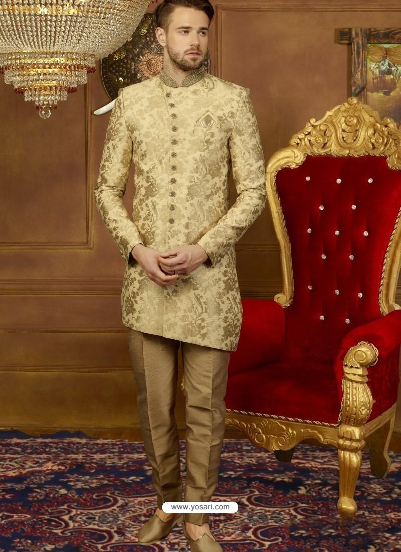 8a16cc4122 Golden Art Banarasi Silk Indo Western Embroidered Designer Sherwani