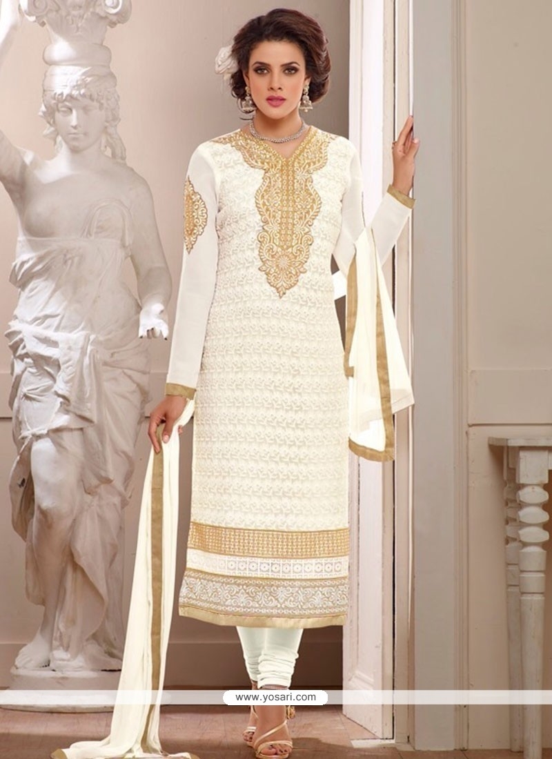 Elite Off White Georgette Churidar Salwar Suit
