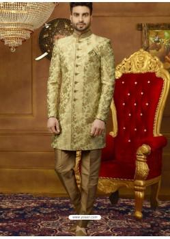 Sea Green And Gold Art Banarasi Silk Indo Western Embroidered Designer Sherwani