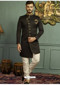Black Imported Jaquard Nawabi Style Designer Sherwani