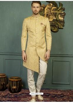 Gold Imported Jaquard Nawabi Style Designer Sherwani