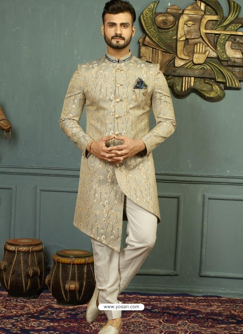 Taupe Imported Jaquard Nawabi Style Designer Sherwani