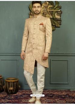 Light Beige Imported Jaquard Nawabi Style Designer Sherwani