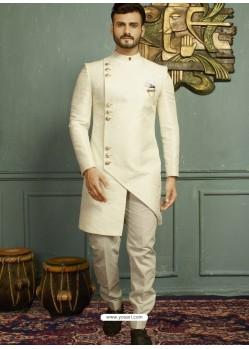 Off White Imported Jaquard Nawabi Style Designer Sherwani
