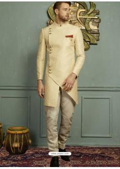 Cream Imported Jaquard Nawabi Style Designer Sherwani