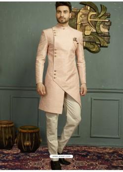 Baby Pink Imported Jaquard Nawabi Style Designer Sherwani