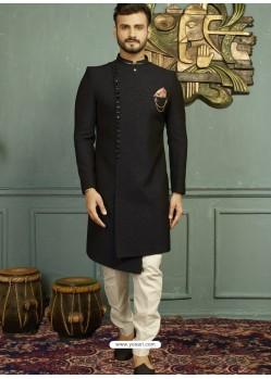 Awesome Black Imported Jaquard Nawabi Style Designer Sherwani