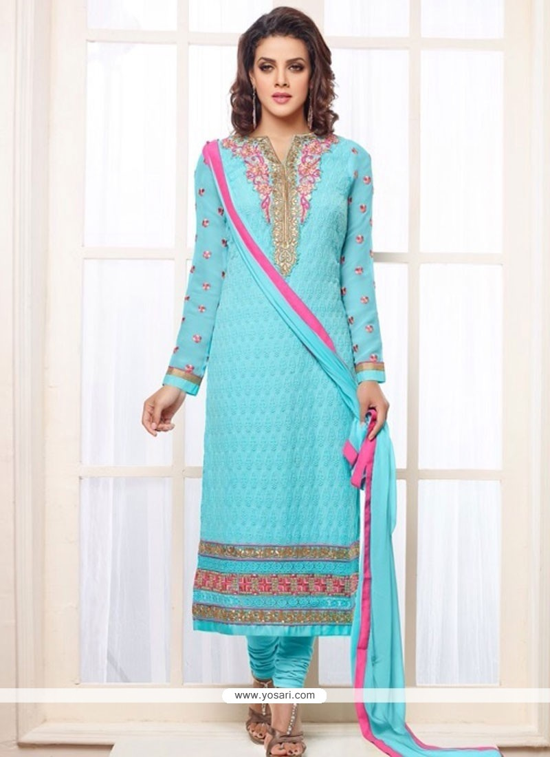 Classy Turquoise Blue Georgette Churidar Suit