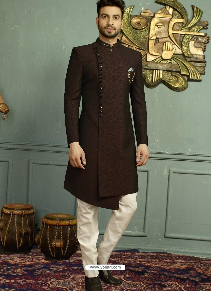 Wine Imported Jaquard Nawabi Style Designer Sherwani