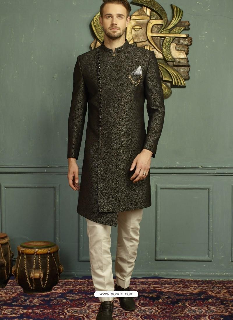 Carbon Imported Jaquard Nawabi Style Designer Sherwani
