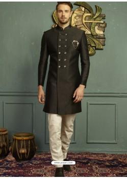 Impressive Black Imported Jaquard Nawabi Style Designer Sherwani