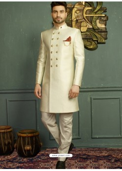 Latest Off White Imported Jaquard Nawabi Style Designer Sherwani