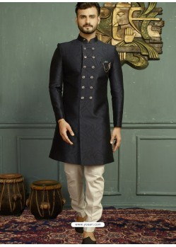 Navy Blue Imported Jaquard Nawabi Style Designer Sherwani